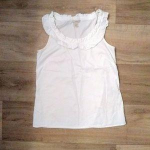 J. Crew cotton ruffle tank career blouse